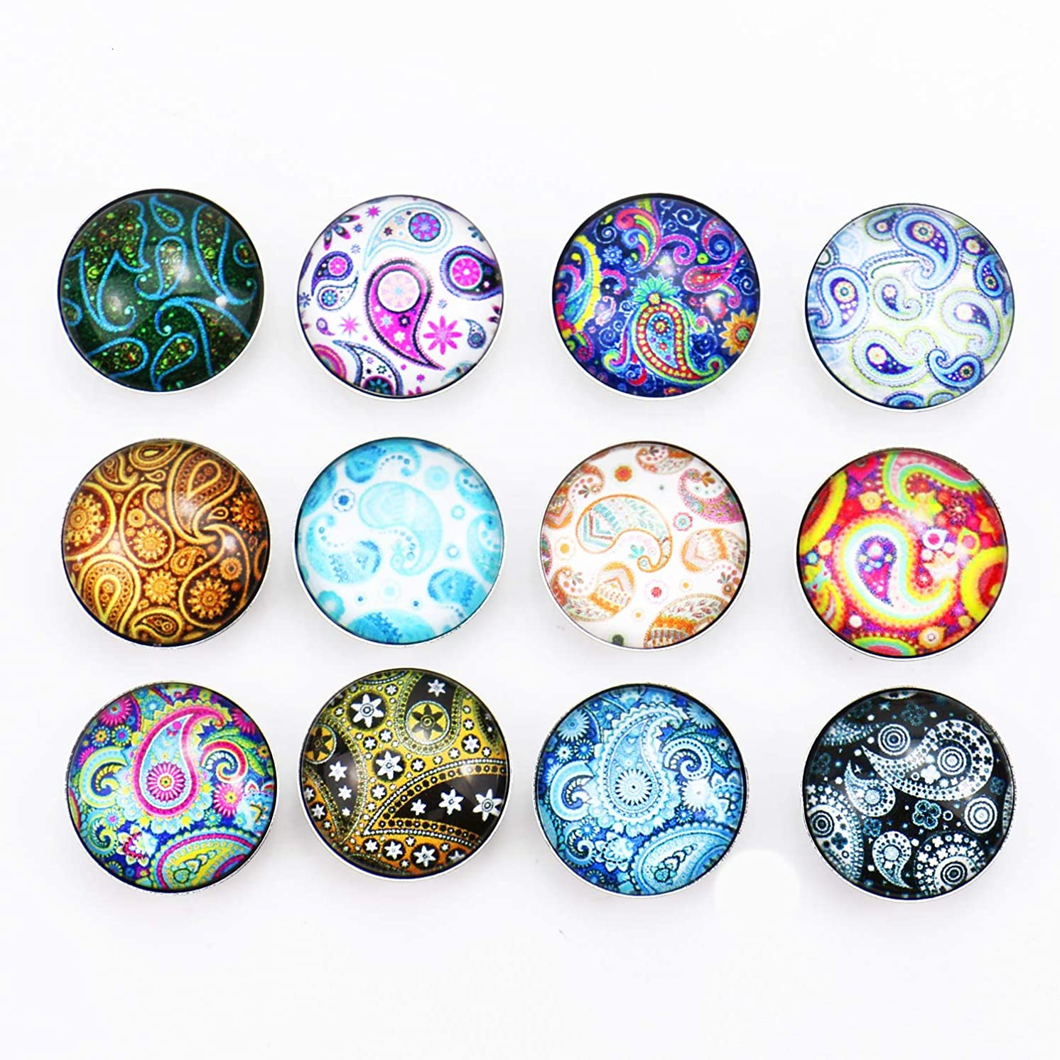 Monrocco 12Pcs Mixed 18mm Snap Button Jewelry Charms for Jewelry Making,DIY Accessories