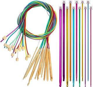 SAVITA 23 Pièces Ensemble De Crochets Tunisiens Aiguilles à Tricoter en Bambou Carbonisé 3-10 Mm avec Perles Et Crochets e...
