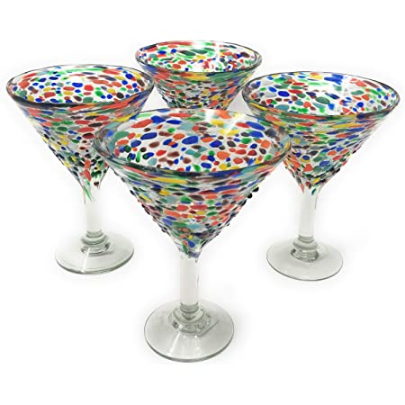 Amazon Com Mexican Hand Blown Glass Set Of 4 Hand Blown Modern Margarita Glasses Confetti Rock 12 Oz Kitchen Dining
