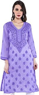 ADA Hand Embroidery Lucknowi Chikankari Regular Fit Cotton Kurti Kurta (A257262_Mauve)