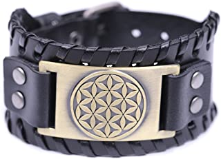 TEAMER Flower of Life Sacred Geometry Leather Bracelet Cuff Bangle For Men Women Gifts Jewelry