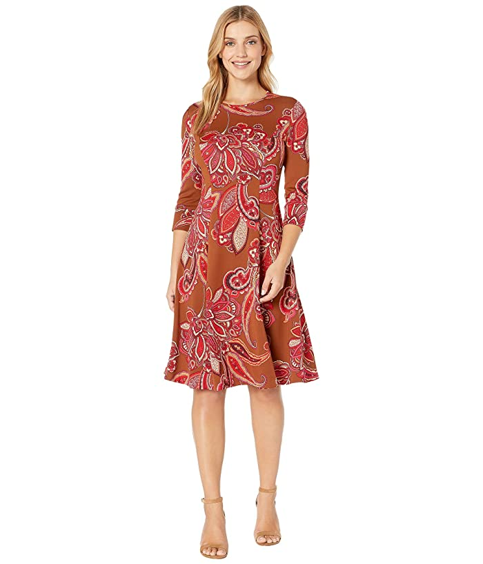 Donna Morgan  Printed Stretch Crepe Flared Skirt Dress (Cedar/Cranberry) Womens Clothing
