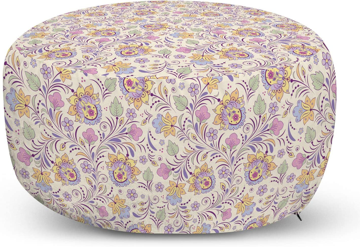 Max 78% OFF Ambesonne Garden New Free Shipping Pouf Cover with N Spring Pastel Zipper Colored