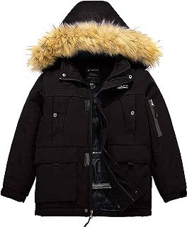 Wantdo Boy's Waterproof Ski Jacket Winter Thick Parka Coat with Detachable Hood