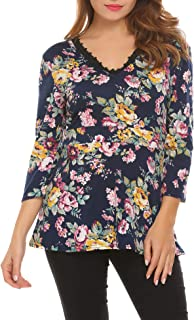Women's Summer Bow Tie Blouse Casual Sleeveless Floral Print Tank Top
