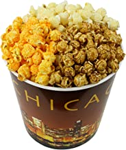 Signature Popcorn - Gourmet Popcorn - 1-gallon Gold Chicago Skyline Reusable Plastic Tin, 3-flavors - Butter, Caramel and Cheddar Cheese