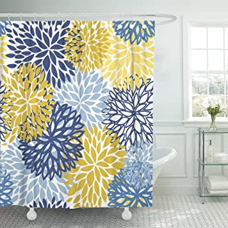 TOMPOP Shower Curtain Green Spring Flower Blue Yellow and Navy Chrysanthemum Brown Waterproof Polyester Fabric 72 x 72 Inches Set with Hooks