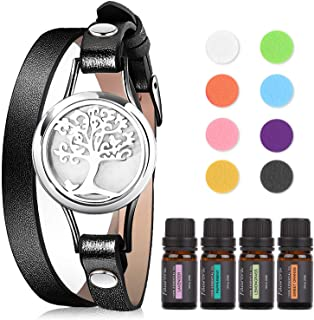 Faurora Essential Oil Bracelet Gift Set, Tree of Life Aromatherapy Diffuser Chain with 4 x 10 ML Aroma Esse...