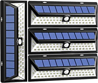 LITOM Solar Lights Outdoor, 54 LED Super Bright 270°Wide Angle Motion Sensor Lights, Wireless Waterproof Security Solar Light for Front Door, Yard, Garage, Deck, Porch, Shed, Walkway, Fence (4 Pack)
