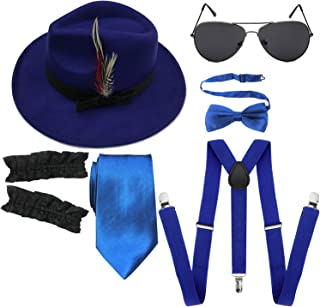 1920s Mens Manhattan Trilby Fedora Hat, Garters Armbands,Y-Back Suspenders & Pre Tied Bowtie, Gangster Sunglass