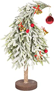 VGIA 17 inch Mini Artificial Christmas Tree Uniquely Shaped Spray Snow Christmas Tree with a Bell