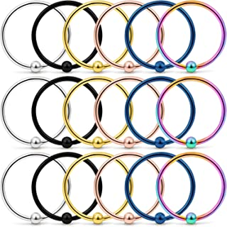 18PCS 18G Stainless Steel Attached Captive Bead Nose Hoop Rings Eyebrow Cartilage Helix Hook Earring Septum Ring Piercing Jewelry for Men Women
