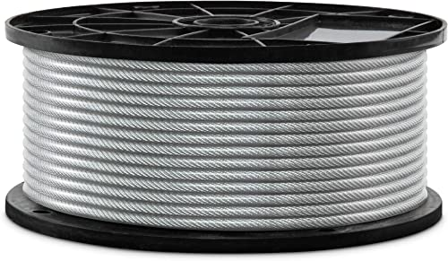 """popular Jumbl 7x7Wire Rope, 3/32"""" x 3/16"""" PVC Coated Galvanized Steel online sale popular Aircraft Cable, Metal Rope Thickness 3/32-Inch (2.38mm) – PVC Coating Thickness 3/16 -Inch (4.76mm) outlet online sale"""