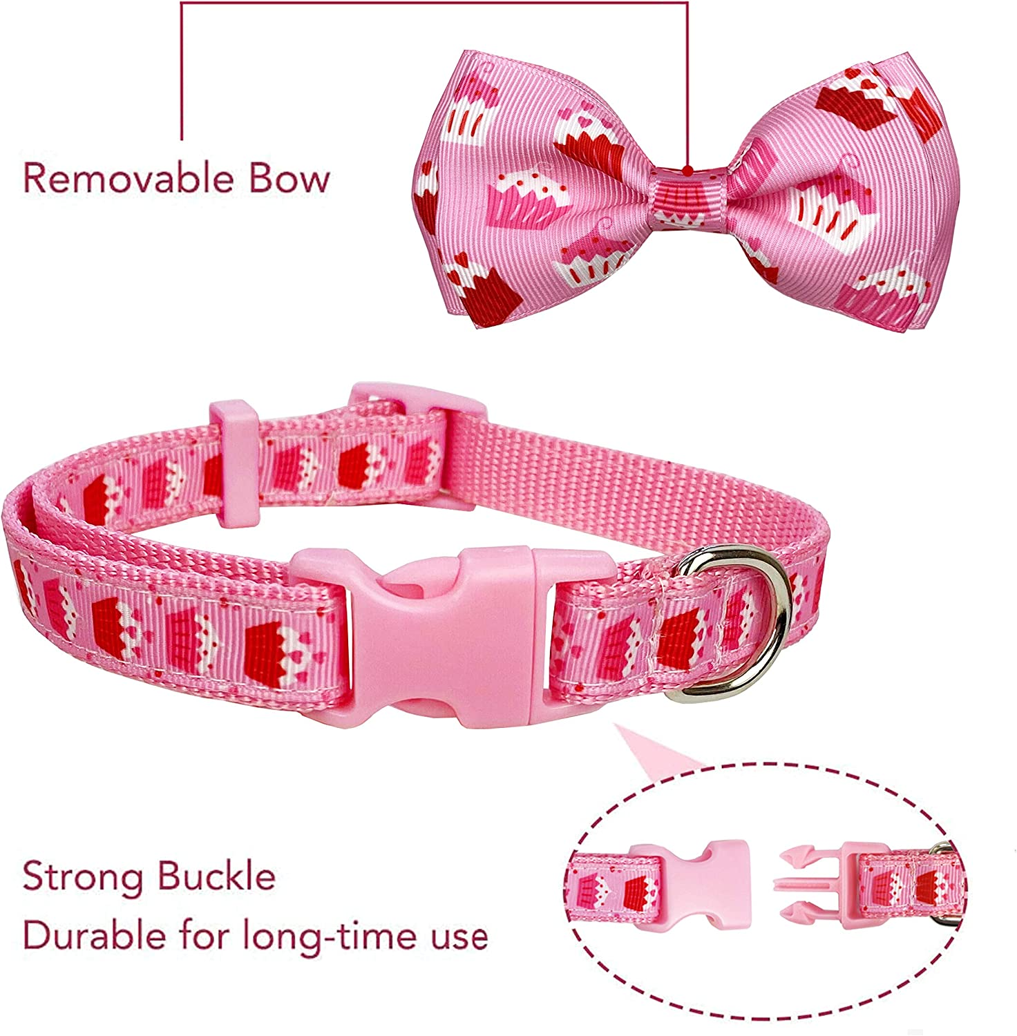 Neck 5//8 Wide Holiday Cute Cake Collar for Small Dogs Puppy Pets. Hey Cupcake, Small- Pohshido 2 Pack Valentines Birthday Dog Collar with Bow Tie 11-17