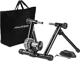 Alpcour Fluid Bike Trainer Stand – Portable Stainless Steel Indoor Trainer w/ Fluid Flywheel, Noise Reduction, Progressive...