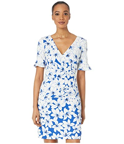 Adrianna Papell Graphic Lily Draped A-Line Dress w/ Flounce Sleeve (Blue Multi) Women
