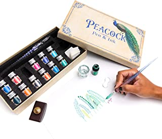 Peacock Pen & Ink Set Glass Dip Pen Set with Ink. Fun for Calligraphy, journaling, Writing, and Drawing. Treat Yourself or...