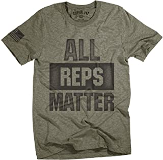 Mens All Reps Matter American Flag Lifting Workout T-Shirt