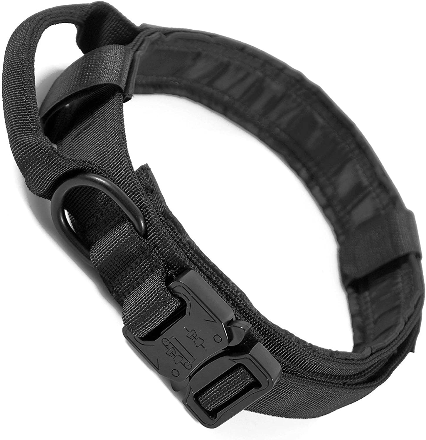 LIVABIT Heavy Duty 600D Nylon Tactical Dog Training Collar Handle Large Black