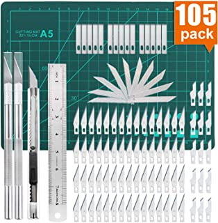 105 PCS Precision Carving Craft Hobby Knife Kit Includes 92 PCS Carving Blades with 2 Handles, 11 PCS SK5 Art Blades with 1 Handles, Cutting Board,Steel Rule for DIY Art Work Cutting, Hobby, Scrapbook