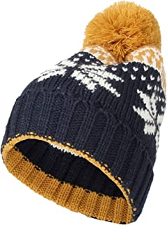 WITHMOONS Knit Fairs Isle Nordic Bobble Pom Beanie Hat CR5128