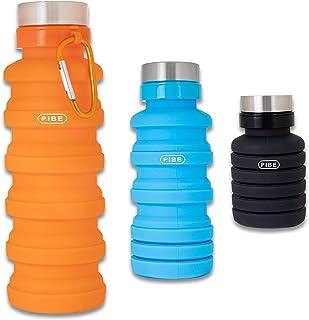 PIBE Botella Plegable, Botella de Agua Plegable de 500 Mililitros Fabricada en Silicona Libre de BPA, BPA Free para Deporte, Senderismo, Ciclismo, Acampada, Camping. Sin BPA, Apta para Contenido Alimenticio