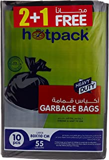 Hotpack Flat Garbage Bag, 55 Gallon, 80 x 110 cm, 30 Bags, Pack of 3, 30 Units