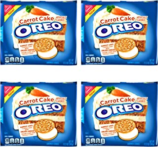 Oreo Carrot Cake Sandwich Cookies - Pack of 4 Bags - Carrot Cake Flavored Oreo With Cream Cheese Frosting Flavor Creme (Carrot Cake, 4 Bags)