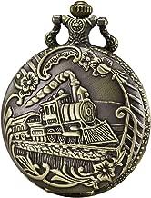 Morfong Pocket Watch Steam Train Quartz Fob Watch for Men Women with Chain, Bronze