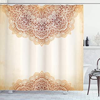 Ambesonne Victorian Shower Curtain, Oriental Vintage Ornate Pattern Autehntic Style Mandala Artwork Print, Cloth Fabric Bathroom Decor Set with Hooks, 70