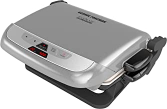 George Foreman GRP4842P Multi-Plate Evolve Grill With Ceramic Grilling Plates and Waffle Plates, Platinum