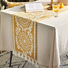 Besalily Spring Wheat Series Polyester Fiber Cotton Embroidery Tassel Table Runner for Table Decoration, 35x185cm(14x73 in...