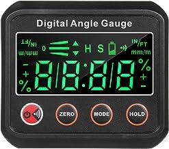 Lasamot inclinômetro de ângulo de nível digital LED 7,5 cm, mini caixa de nível V - base magnética com campainha audível