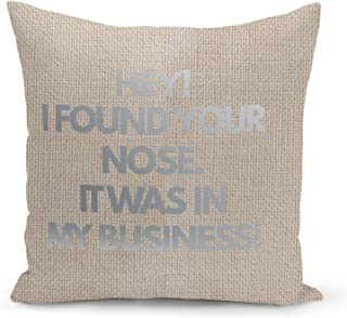 Nose Business Beige Linen Pillow with Metalic Silver Foil Print funny DIY Ideas Decorative Pillow