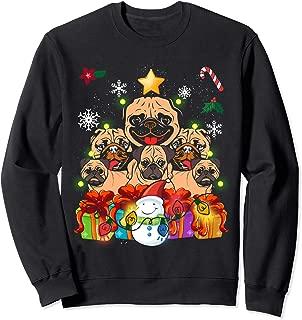 Funny Pug Christmas Tree Decor Gift Paws Xmas Presents Sweatshirt