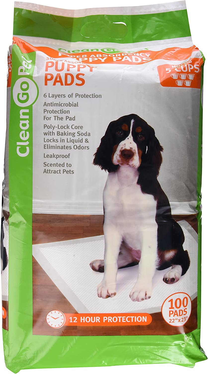 Clean Go Pet ZW1956 89 Super Absorb Puppy Pads, 100PackAntiMicrobial, Hold 5 Cups, Scented to Attract Puppies
