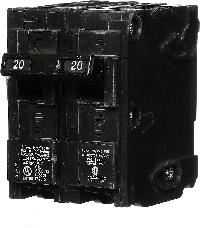 Siemens -HI Q220 20-Amp Double Pole Circuit At the price Breaker Award QP Type blac