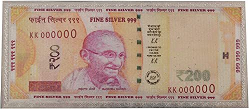 SWATI JEWELLERS 99.6% Pure Silver Fine Silver Fine Silver Currency Note of Rs 200. Silver Colourful Laminated Currency Not...
