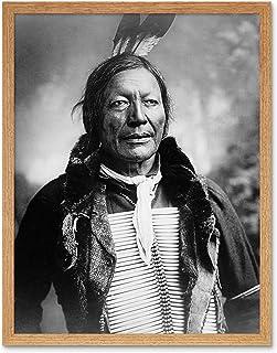 Vintage B&W Dian Fire Lightning Native First Nations Art Print Framed Poster Wall Decor 12X16 Inch