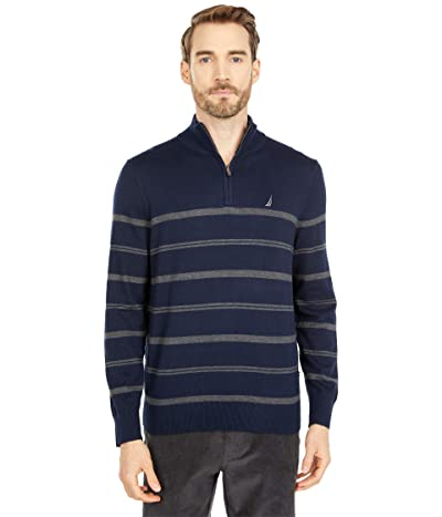 Nautica Navtech Stripe 1/4 Zip Sweater (Navy) Men
