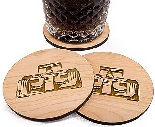 Unfinished F1 Coaster Set - Set of 4 hand finished wood bar coasters