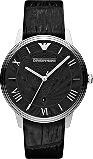 Emporio Armani Men's Stainless Steel Quartz Watch with Leather Strap, Black, 20 (Model: AR1611