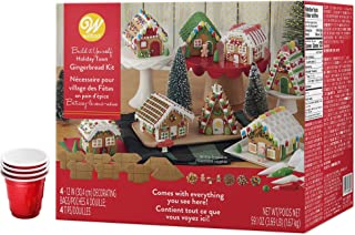 Gingerbread Village Decorating Kit, Party Pack - Includes 8 Houses, 5 types of candies, white, green and red icings, 4 Candy Cups