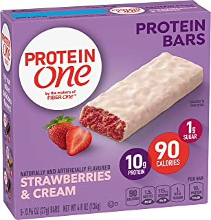 Protein One 90 Calorie Strawberries & Cream Protein Bars, 5 Count, 4.8 oz