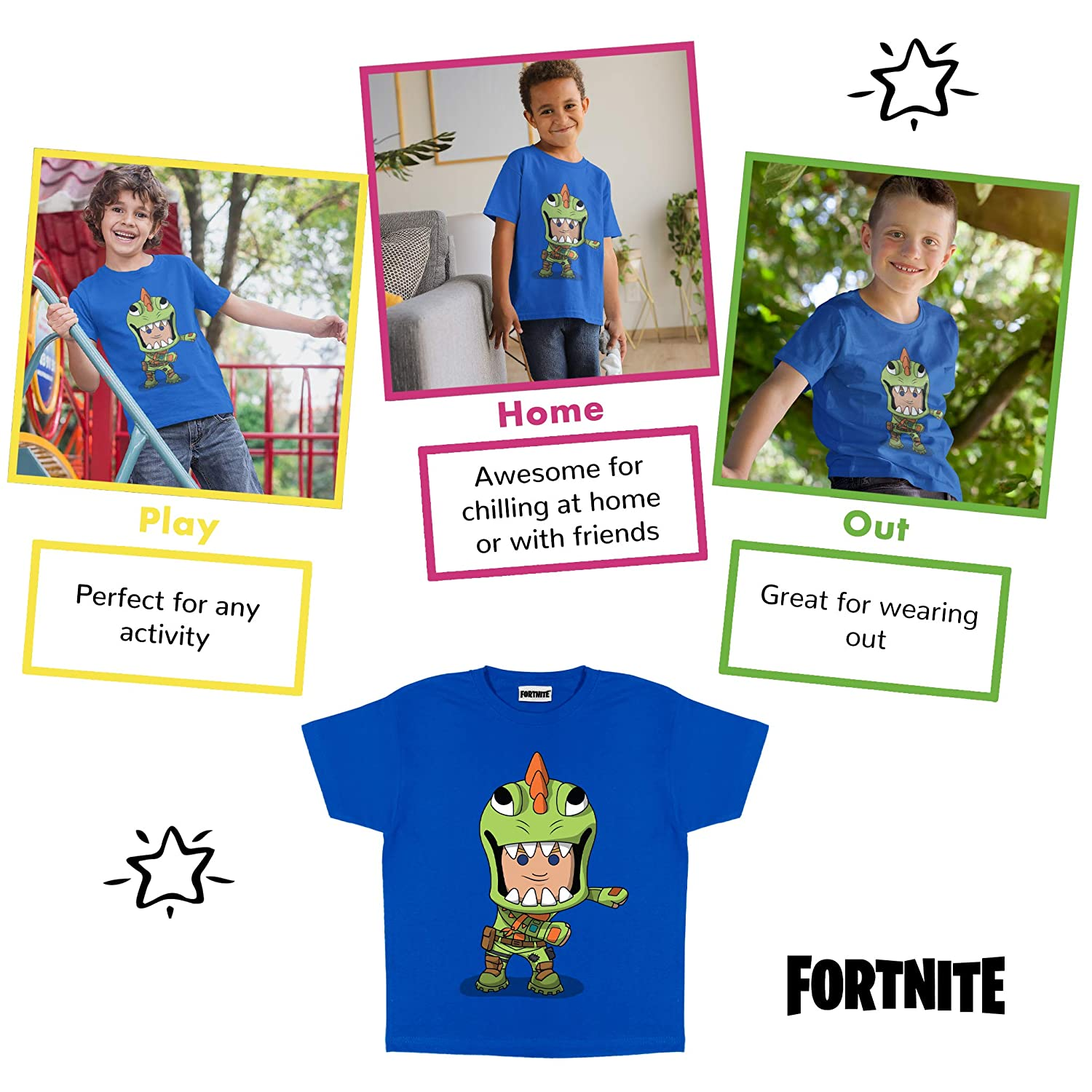 Childrens Clothes PS4 PS5 Xbox PC Gamer Gifts Official Merchandise Tween Teen School Boys Gaming Top Fortnite Flossing Rex Boys T-Shirt Kids Birthday Gift Idea