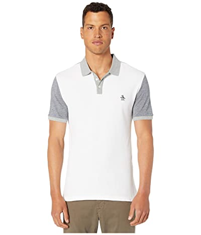 Original Penguin Short Sleeve Color Block Birdseye Polo (Bright White) Men