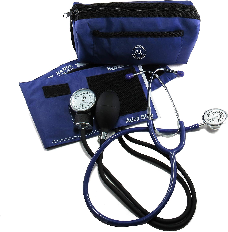 Elite Medical Instruments EMI #305 Aneroid Sphygmomanometer Blood Pressure Monitor And Dual Head Stethoscope Kit Set, Navy