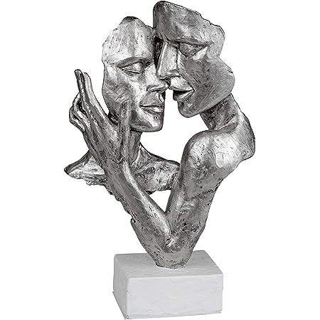 Lifestyle & More Exclusive Buste décoratif Sculpture Amoureux en céramique Blanc/Argent Hauteur 32 cm
