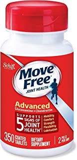 Glucosamine & Chondroitin Advanced Joint Health Supplement Tablets, Move Free (350 Count in A Bottle), Supports Mobility, Flexibility, Strength, Lubrication and Comfort