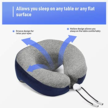 Phixnozar Travel Pillow 100% Memory Foam –Neck Pillow, Ideal for Airplane Travel – Comfortable and Lightweight – Impr...
